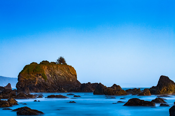 Crescent City California - Sunset on the island at low tide