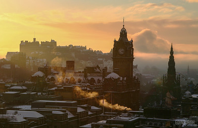 Sunset Snowy Edinburgh