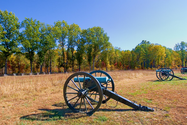 A line of authentic civil war canons sitting on the prairie of Pea Ridge