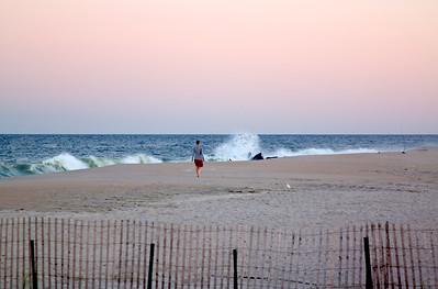 Public Beach in Sea Bright NJ - Hurricane Igor hundreds of miles away.Sept 2010