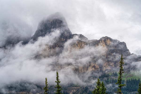Castle Mountain Peeks out of the Clouds