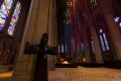 """Grace Cathedral,San Francisco """"Graced with Light"""" artistic work consists of 20 miles of ribbons."""