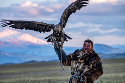 Kazakh-Mongolian Eagle Hunter at Sunset