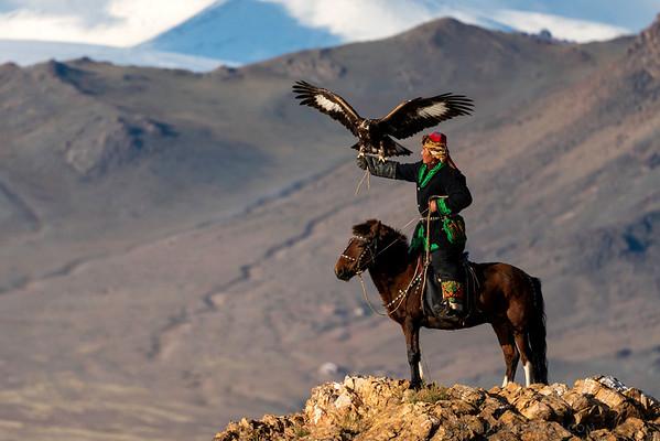 Eagle Hunter on Horseback (zoomed in)