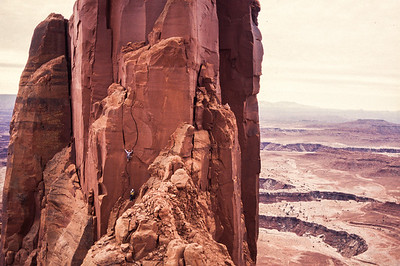 Climbers on the Monster Tower, Canyonlands National Park, Utah