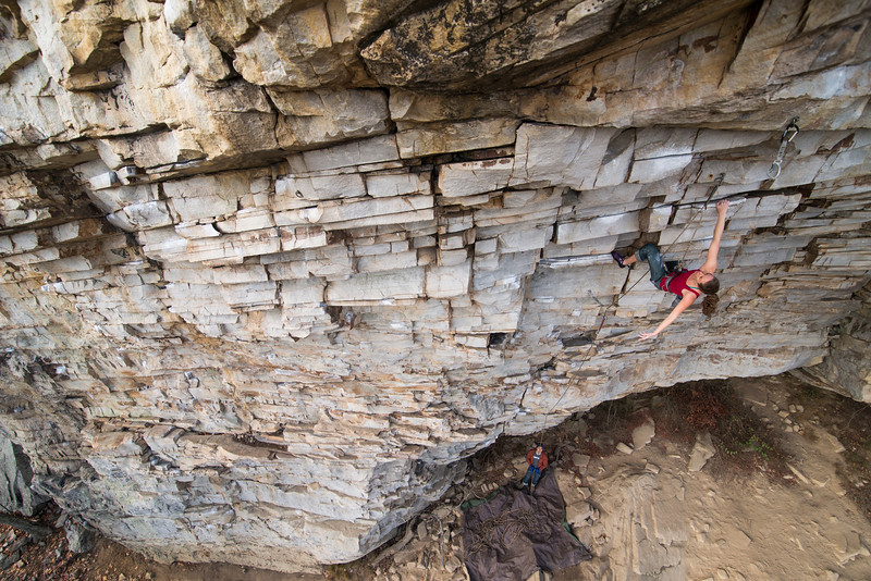 "Belayed by Ben Tsui, Annie Graefe climbs Iron Mike (12a) at the Unshackled Wall, Little River Canyon National Preserve, Alabama. for Climbing Magazine, ""The Evolution of Canyon Man"""