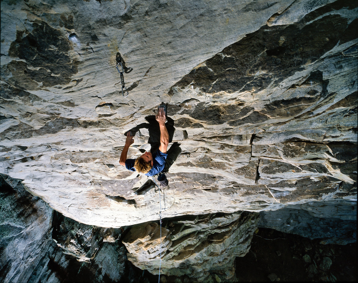"""Mihai Popa climbs """"Area of Doubt"""" (5.13a) at Little River Canyon National Preserve, Alabama"""