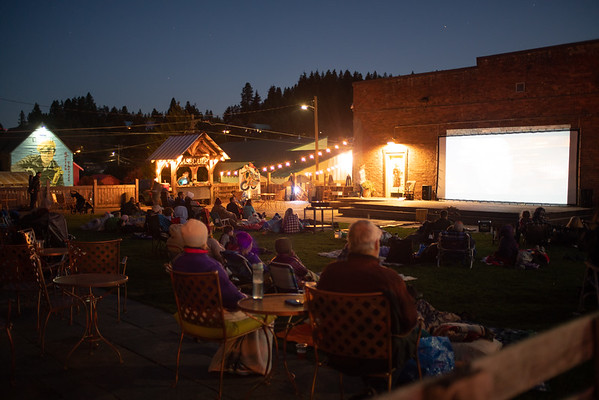 Locals enjoy a summer flick at Basecamp Books and Bites