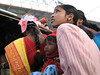 Kids on boat crossing Ganges River, Dakshineswar, West Bengal, India.