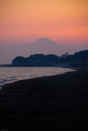 Mount Fuji at sunset as viewed from Kamakura.