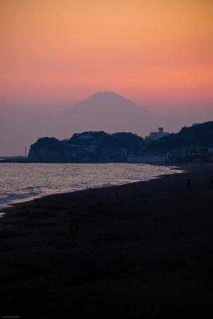 Mount Fuji at sunset as viewed from Kamakura.