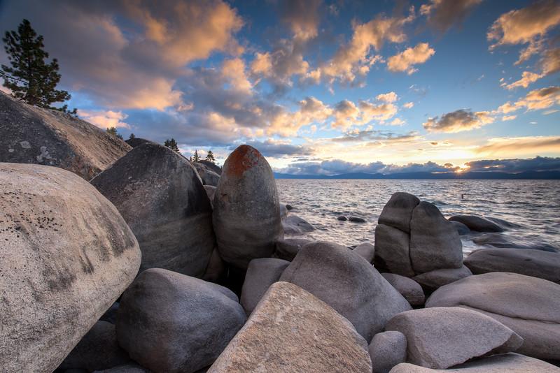 Turbulent Sunset over Lake Tahoe
