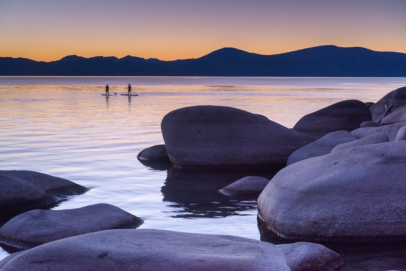 Paddle Boarders at Sunset, Lake Tahoe