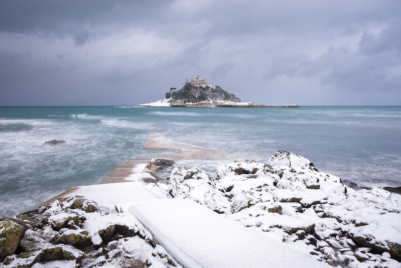 St Michael's Mount in the Snow