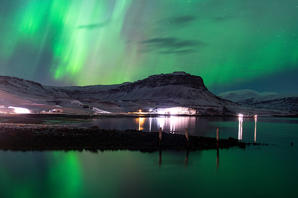 Northern Lights Light Up the Sea in Eastern Region, Iceland 2015