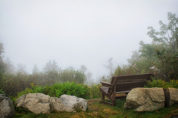A stormy day on Mount Ascutney with thick fog.