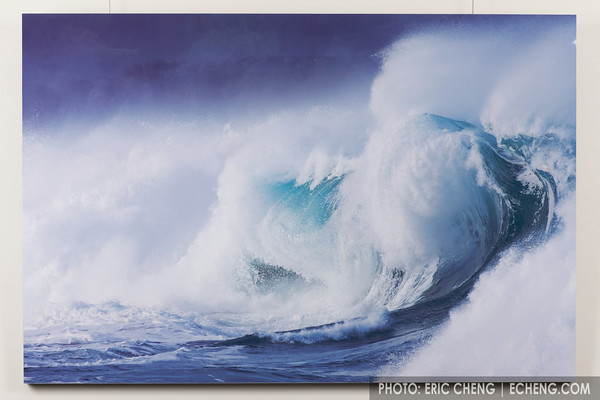 "Wave Monster<br /> North Shore, Oahu, Hawaii<br /> <br /> A large swell turns into a complex wave as it reaches the north shore of Oahu, Hawaii.<br /> <br /> White gloss aluminum, 48""x32""<br /> Limited Edition (of 50)   $1,900<br /> Framed and boxed for protection"