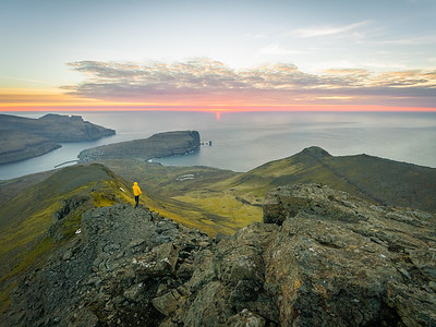 The view from the highest mountain Slættaratindur, Faroe islands.