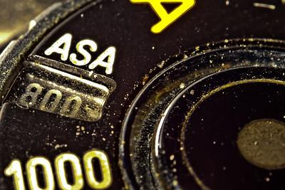 Manual mode dial on film camera