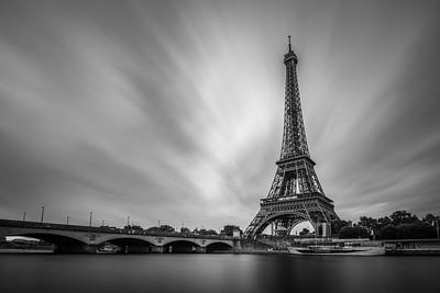 Cloudy Eiffel Tower In Monochrome_v2