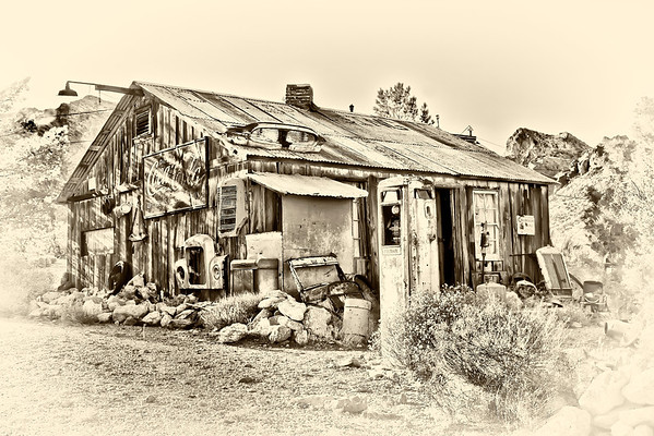 Old building covered in relics in the ghost town of Nelson, Nevada