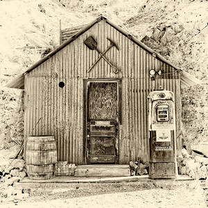 Steel shed in the ghost town of Nelson, Nevada