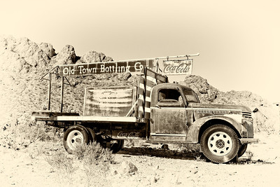 Old rusty Coca-Cola truck in the ghost town of Nelson, Nevada