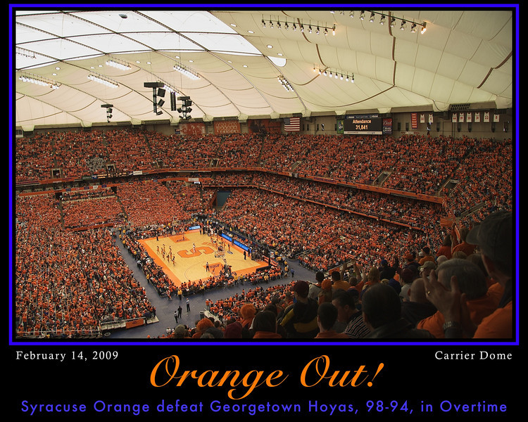 Syracuse Orange Men's Basketball team defeat the Georgetown Hoyas, 98-94, in overtime, at the Carrier Dome on the Syracuse University campus, Syracuse, New York. <br /> <br /> Photo Copyright, 2009, Scott Thomas Photography. All Rights Reserved.