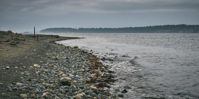 A Rocky Shore, A Rainy Day