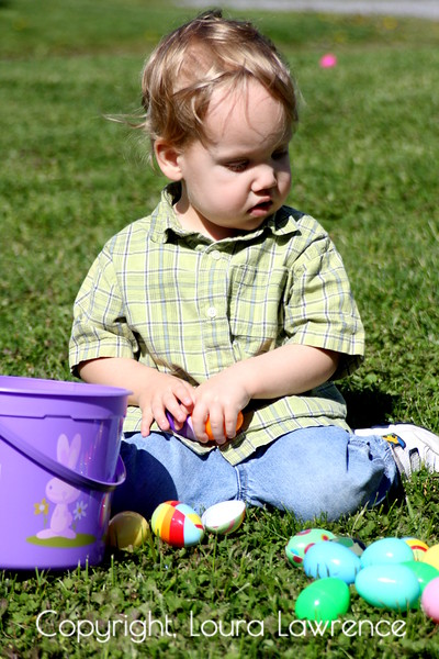 Toddler Boy with Easter Eggs, Pikeville, KY.
