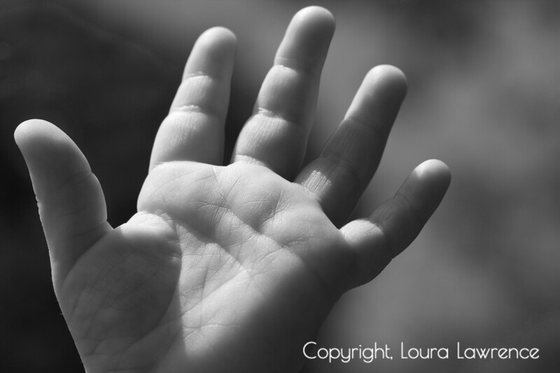 Baby Hand Reaching, Black and White