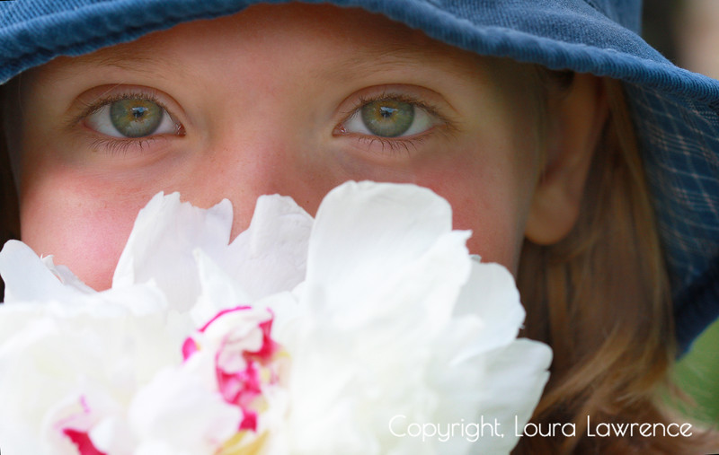Young Girl with White Peony Flower