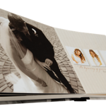 8x8 Silk Spine Photo Books (Premium Cover & Binding) - Lay-Flat  Front and back custom covers show off your star picture or embellished original design. Choose silky black, blue, gold, red or silver for your book's spine and slip case. Heavyweight paper is bound so pages lie flat.