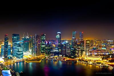 Singapore Skyline from the Marina Bay Sands Hotel. Taken February 14, 2011.