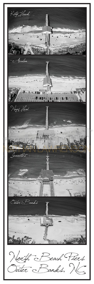 North Beach Piers of the Outer Banks B&W Poster