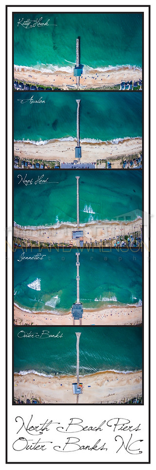 North Beach Piers of the Outer Banks Color Poster