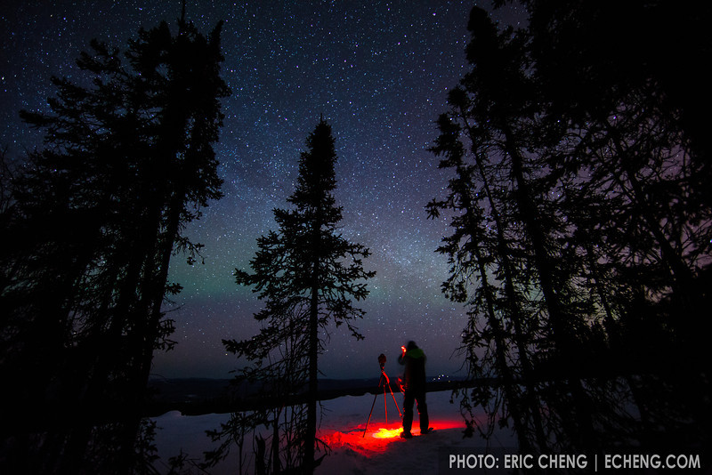 Photographer Julian Cohen braves the cold to photograph the northern lights in Fairbanks, Alaska.