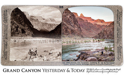 Grand Canyon National Park Yesterday & Today. Colorado River at foot of Bright Angel Trail, looking at Zoroaster Tower. Circa 1903.