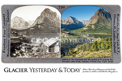 Glacier National Park Yesterday & Today. Mt. Grinnell and Mt. Gould above Swiftcurrent Lake (formerly McDermott Lake.) Circa 1910.