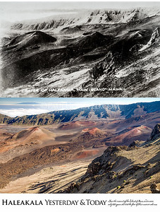 Haleakala National Park Yesterday & Today. Near summit of the island of Maui in Hawaii. Circa 1920.