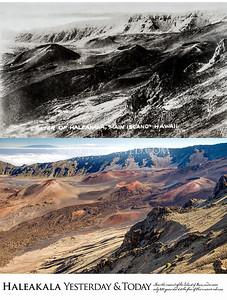 Haleakala National Park Yesterday & Today. Near summit of the island of Maui in Hawaii. Circa 1920.