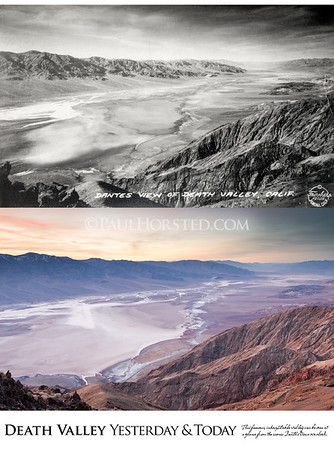 Death Valley National Park Yesterday & Today. Dante's View overlook, circa 1930.