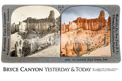 Bryce Canyon National Park Yesterday & Today. The Cathedral in Bryce Canyon, circa 1903.