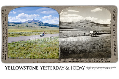 """Yellowstone National Park Yesterday & Today. """"'The Clouds Arose Like a Dream', Electric Peak"""", circa 1900."""