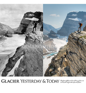 Glacier National Park Yesterday & Today. National Park Service Director Steven Mather looking at Grinnell Glacier, 1920.