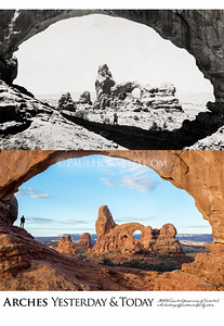 Arches National Park Yesterday & Today, Turret Arch seen through North Window Arch, circa 1930.