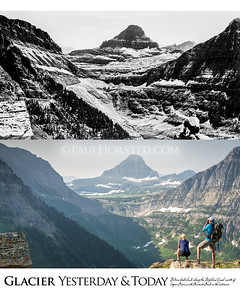 Glacier National Park Yesterday & Today. Along the Highline Trail north of Logan Pass, circa 1930.