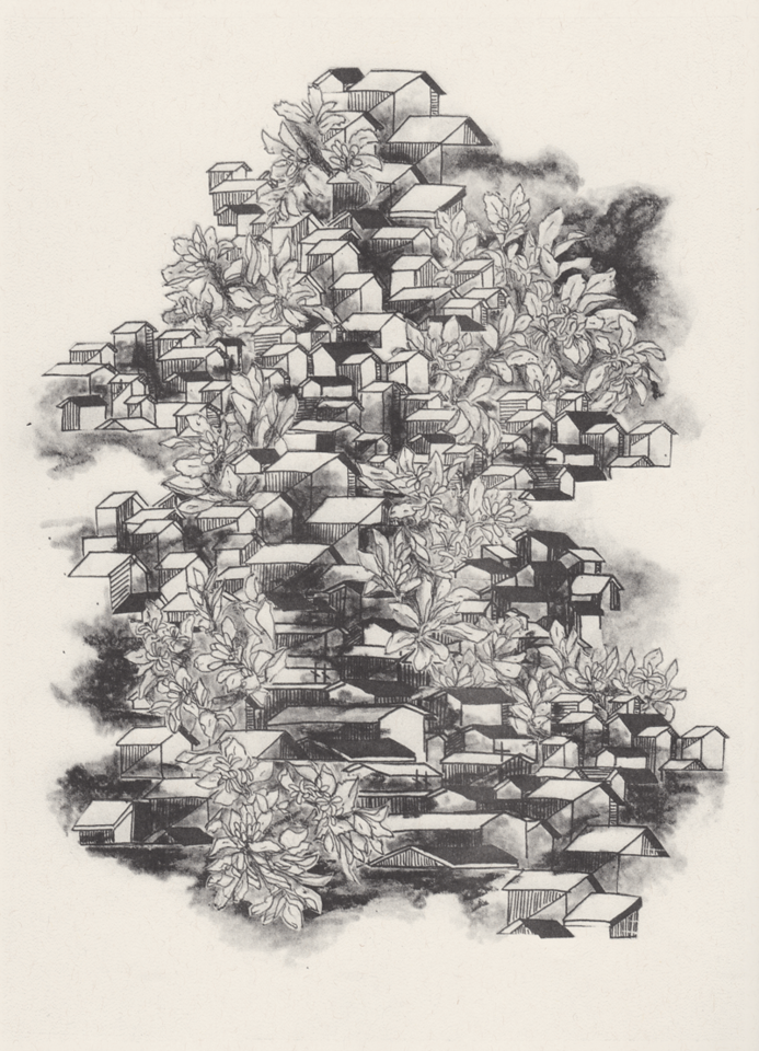 Black and white print of densely packed houses, interspersed with mist and lemon blossoms.