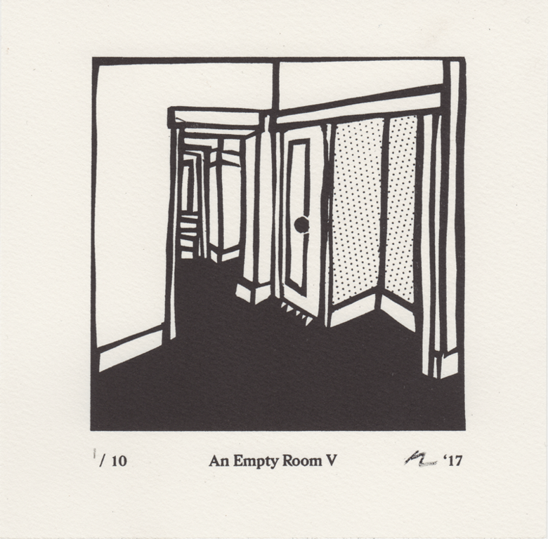 Black and white Risograph with halftone dots depecting an empty room, a small closet in the foreground.