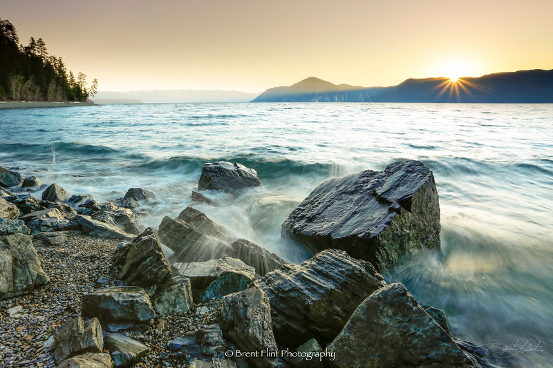 DF.3900 - waves crashing on beach at sunrise, Lake Pend Oreille, Kaniksu National Forest, ID.